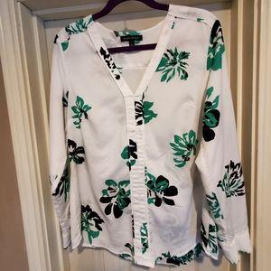 White and green v neck blouse